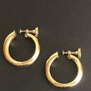 Monet Screw Back Hoop Earrings Vintage